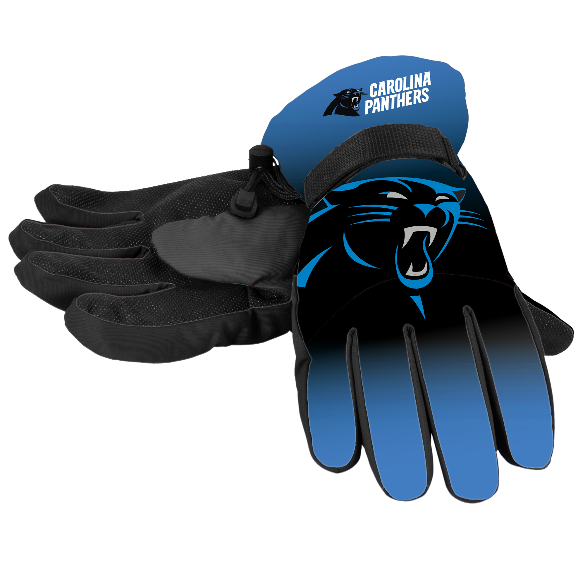 Forever Collectibles - NFL Gradient Big Logo Insulated Gloves-Small/Medium, Carolina Panthers