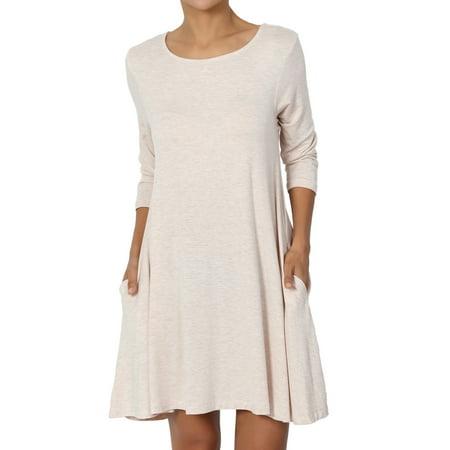 TheMogan Women's S~3XL Basic 3/4 Sleeve Swing Flared Tunic Dress Pocket Long Top (Greek Dress For Boys)