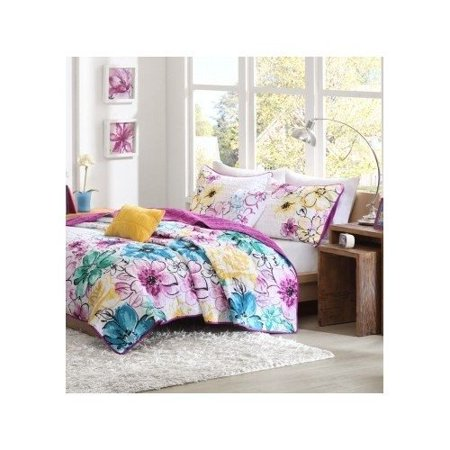 Reversible Coverlet Bed Set Girls Teen Bedding Floral Flowers Teal Green Yellow Purple Full/queen or Twin Xl (twin/twin xl), Set include: Coverlet, Twin/TXL size.., By At Home Designs