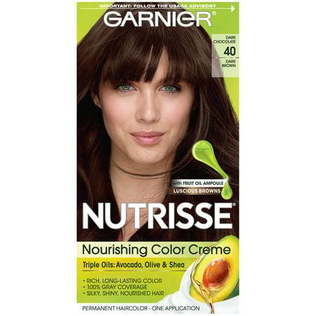 Garnier Nutrisse Permanent Hair Color, 40 Dark Brown