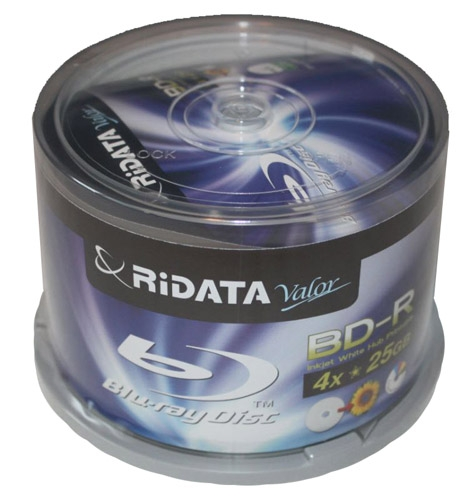 50 Ridata Blu-ray Valor 4X BD-R 25GB Disc White Inkjet Hub