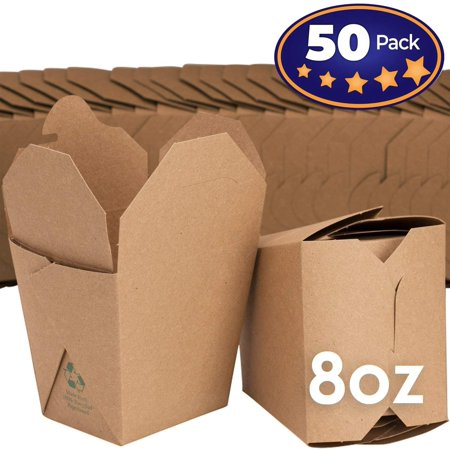 Restaurant Grease - Microwavable Brown Chinese 8 oz Take Out Boxes. 50 Pack by Avant Grub. Stackable Pails Are Recyclable. Ideal Leak And Grease Resistant Pint Size To Go Container For Restaurants and Food Service.