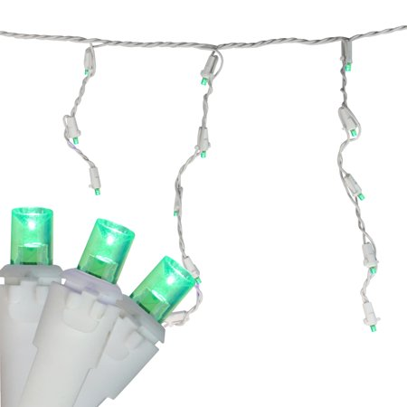 Brite Star 70ct Wide Angle LED Icicle String Lights Green - 6' White -