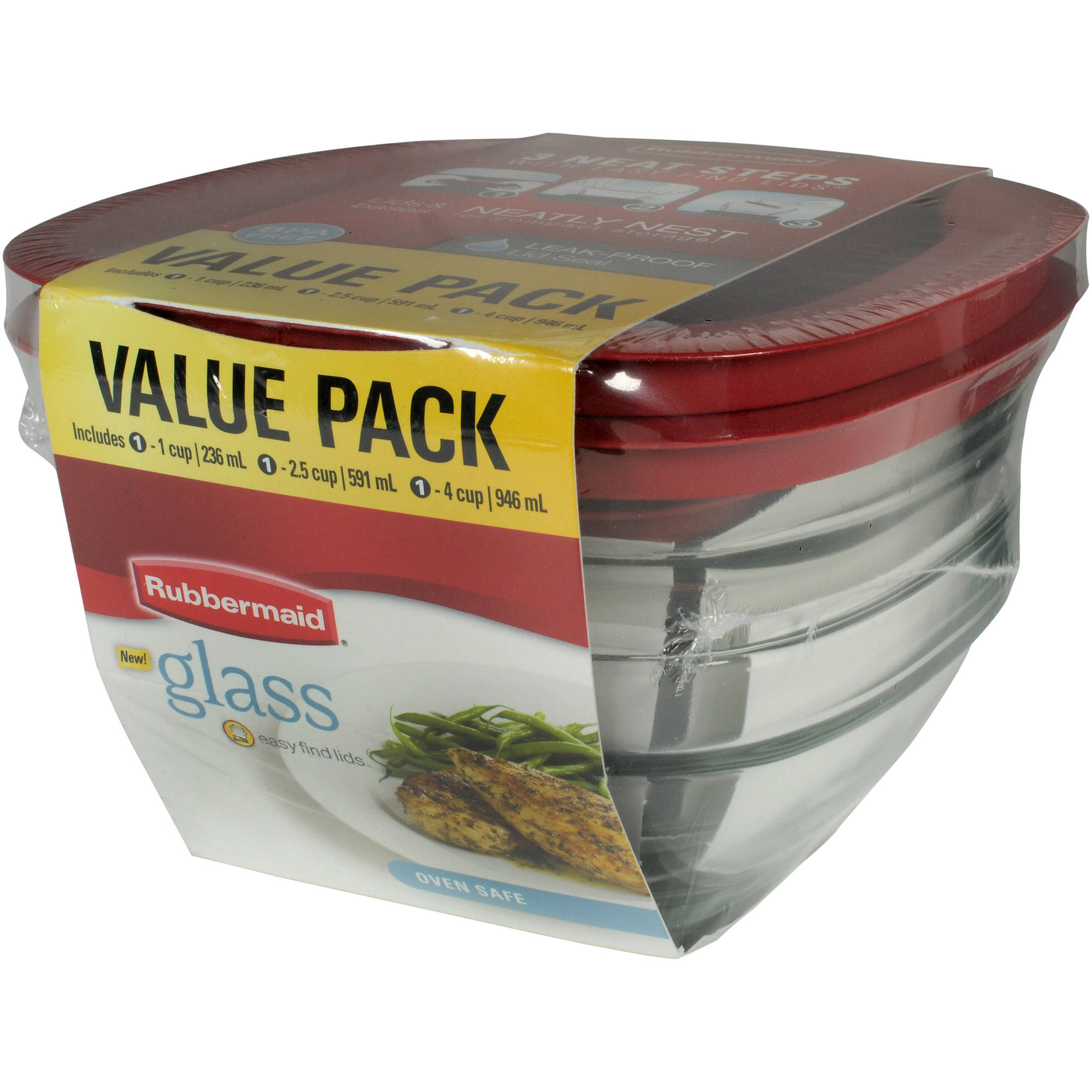 Rubbermaid 6-Piece Glass Food Storage Value Pack
