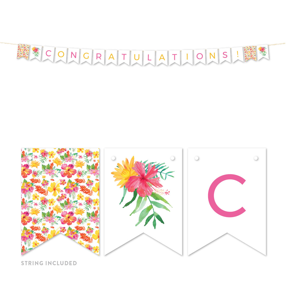 Tropical Floral Garden Party Wedding, Hanging Pennant Party Banner with String, Congratulations!