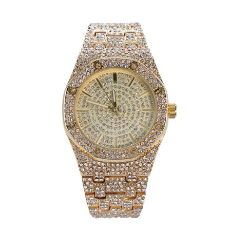 Diamond Simulated Watch (Men's 14k Gold Tone Iced Out Octagon Dial Watch with Simulated)