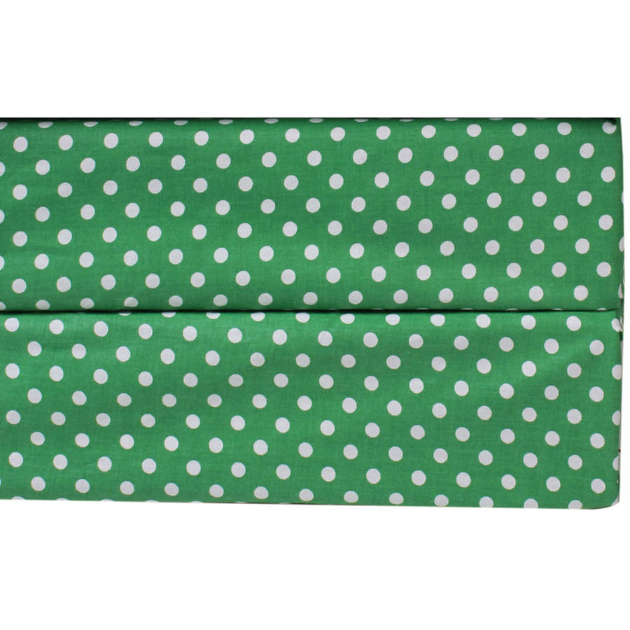 Bacati  -  MixNMatch Pin Dots Crib / Toddler Bed Sheets 100% Cotton Percale, Kelly Green, 2 - Pack