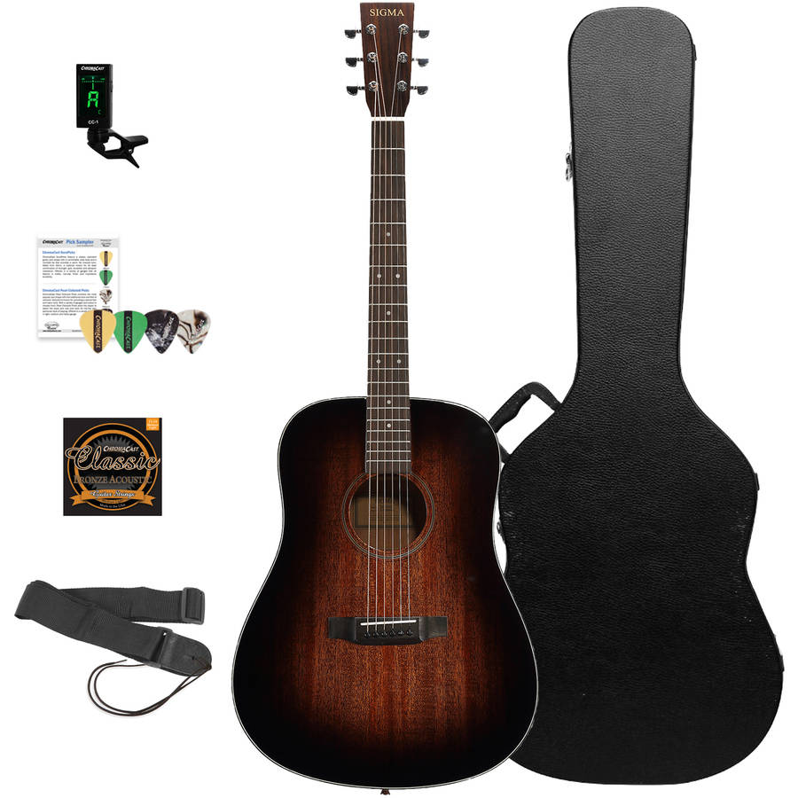 Sigma Guitars Mahogany Dreadnought Acoustic Guitar with ChromaCast Hard Case and Accessories, Shadowburst Finish