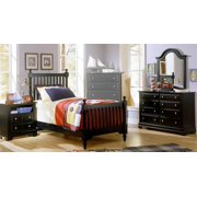 Youth Slat Poster Bed w Nightstand & Dresser Set in Black Finish (Twin)