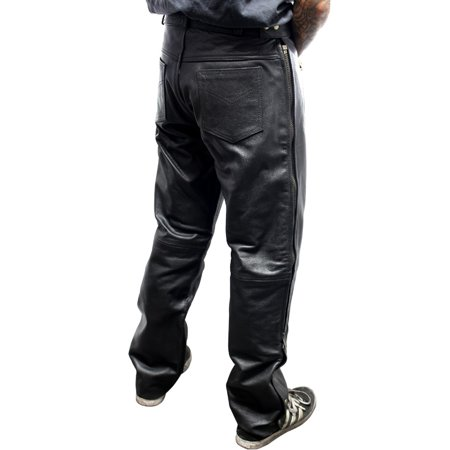 Perrini Men's Cowhide Motorcycle Leather Pants Over Jeans Lined Side