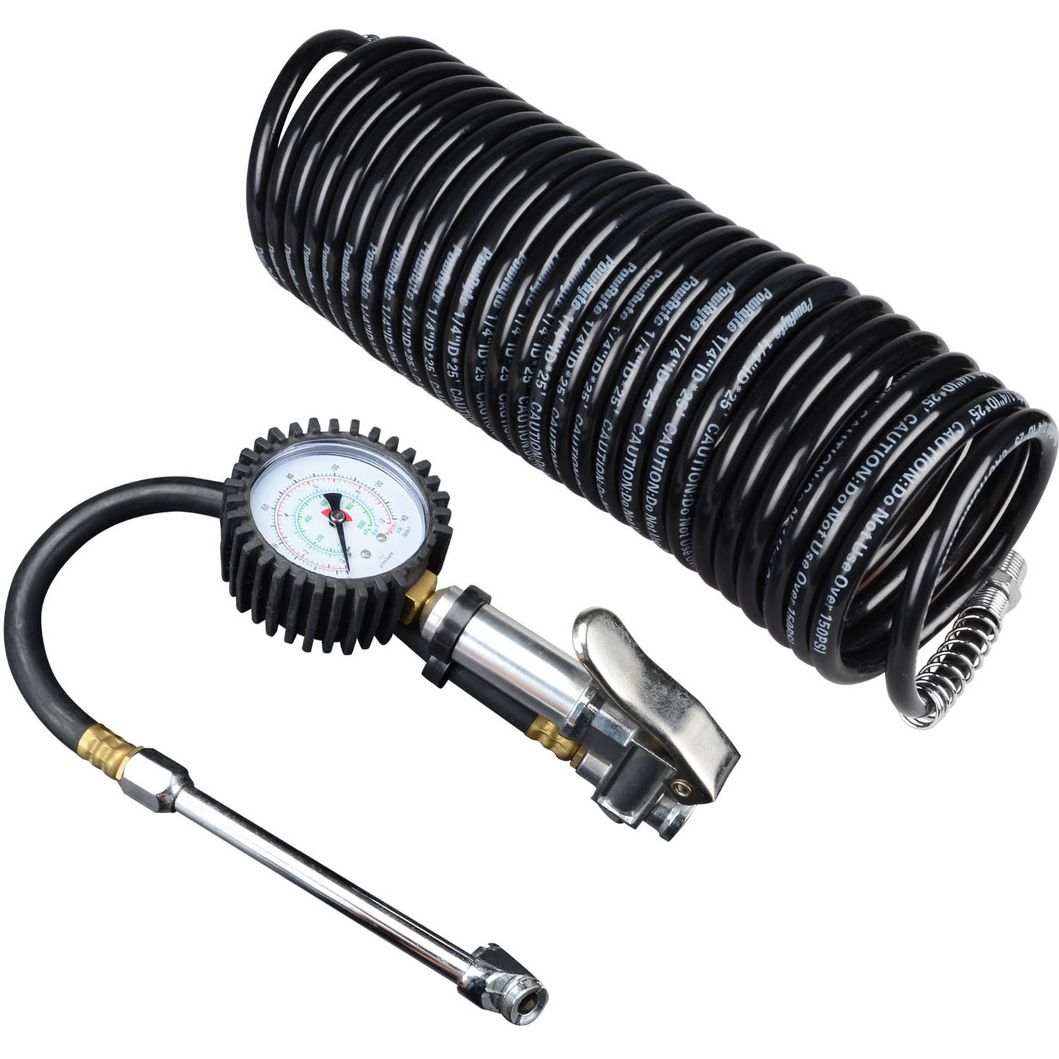 PowRyte 500140 Basic 140 PSI Dual Chuck Air Tire Inflator and Recoil Air Hose Kit
