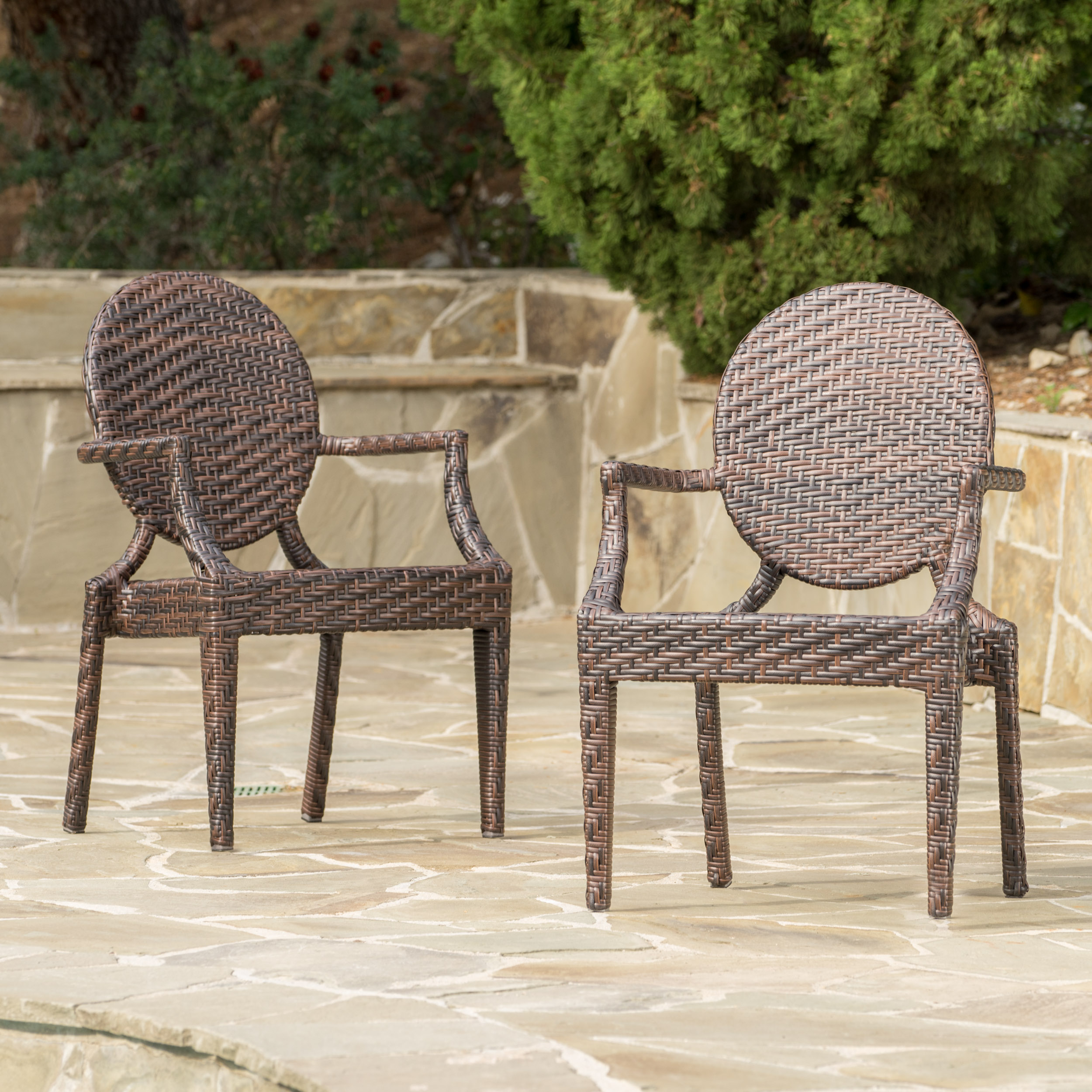 Foster Wicker Outdoor Chairs, Set of 2, Multibrown