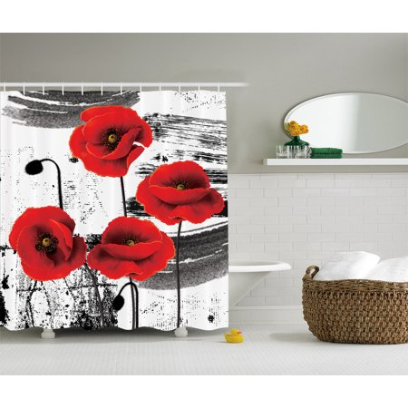 Classic Decor Flowers Chic Floral Picture Fabric Shower Curtain Black White Red