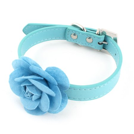 Pet Faux Leather Rose Design Puppy Dog Adjustable Belt Decoration Collar Blue M](Dog Decorations)