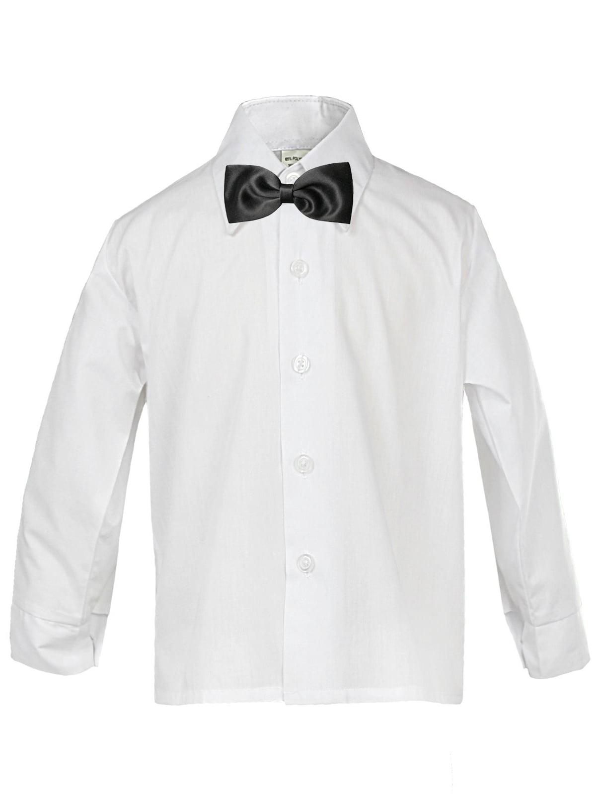 Classic Baby Boy Formal Tuxedo Suit WHITE Button Dress Shirt Black Bow tie SM-4T