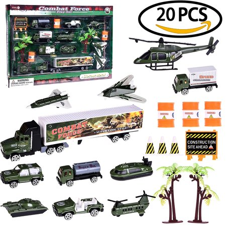 Accessories For Boys (Boy's Army Man Military Soldiers Truck Hero Role Play Action Diecast Vehicle Play Set for Party Favors with Tank, Truck, SUV, Helicopter, Plane and Accessories 20 PCs)