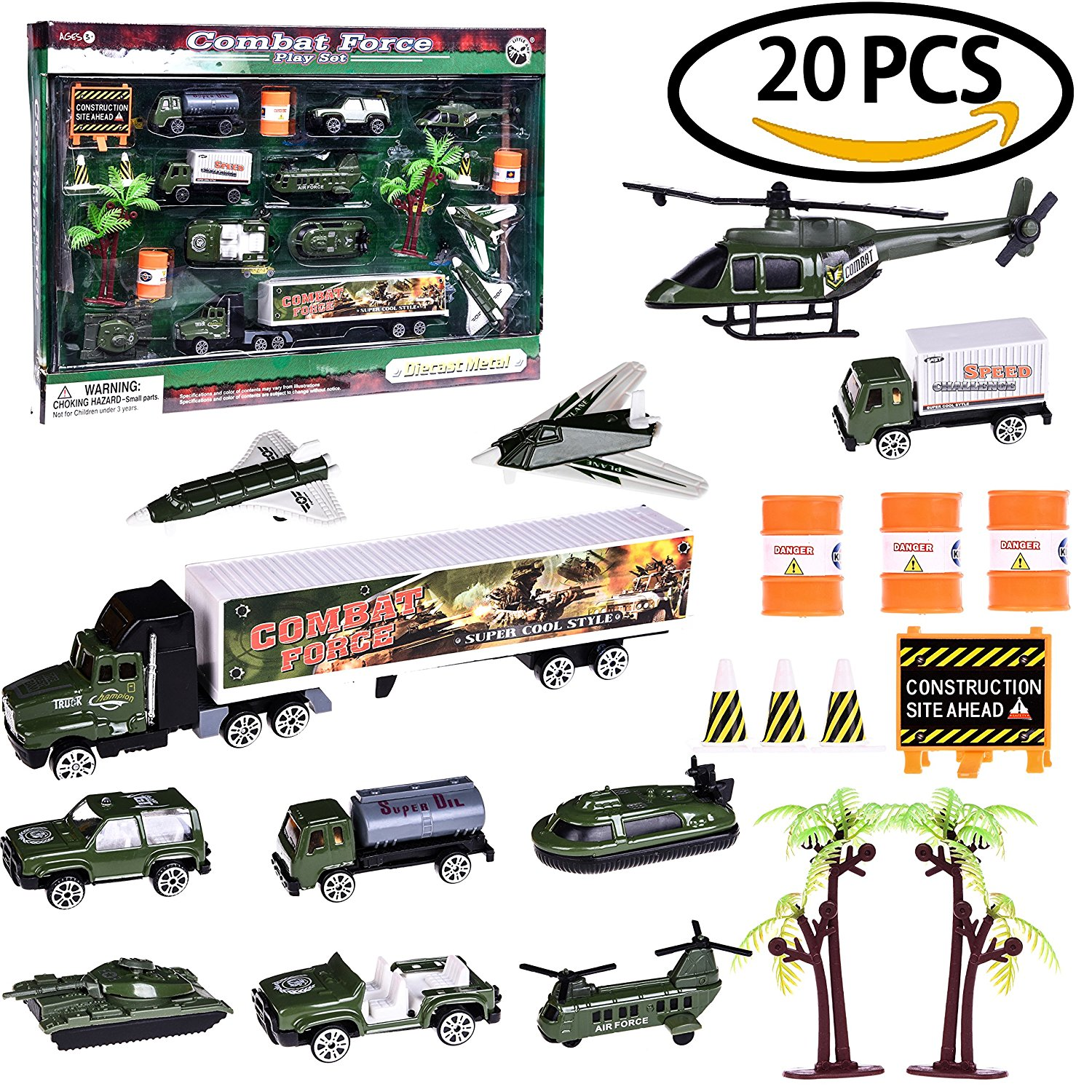 Boy's Army Man Military Soldiers Truck Hero Role Play Action Diecast Vehicle Play Set for Party Favors with Tank, Truck, SUV, Helicopter, Plane and Accessories 20 PCs F-21