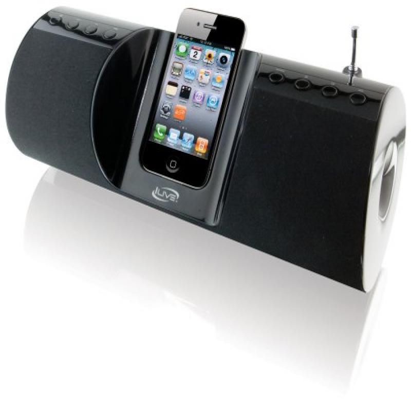 ILIVE iBP291B; Portable App-Enhanced Boombox FM Radio wit...
