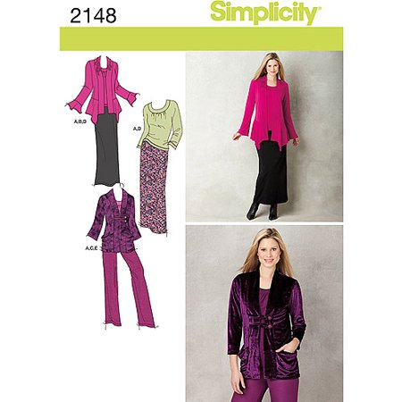 Simplicity Pattern Misses' Sportswear, Pants, Skirt, Knit Top and Cardigan, (8, 10, 12, 14, 16)