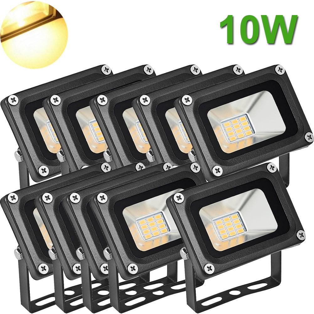 10X 10Watt LED Flood Light High Power Warm White Indoor Outdoor Lighting Fixture