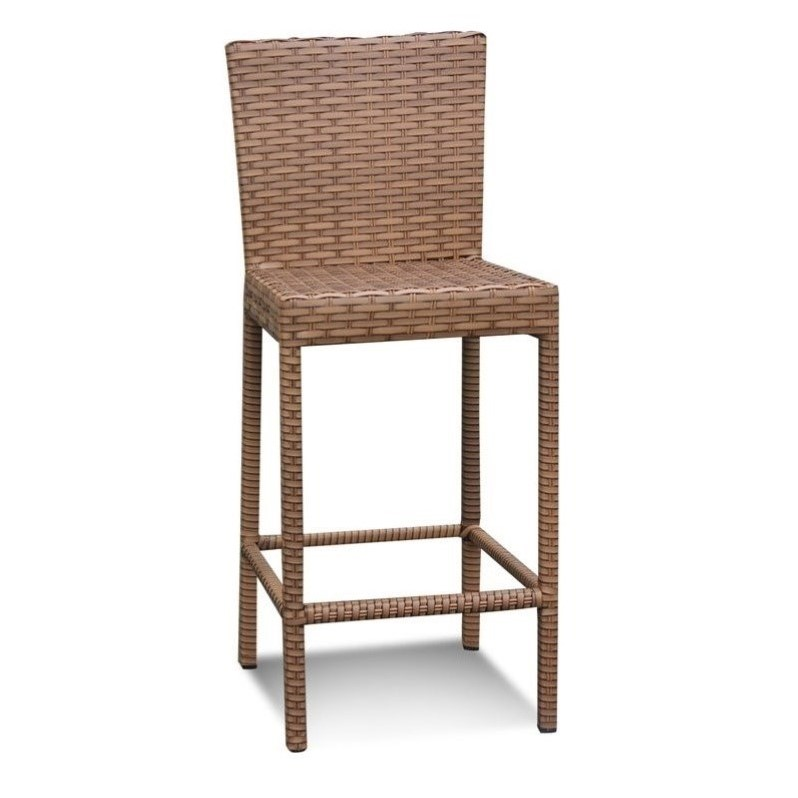 Bowery Hill Outdoor Wicker Bar Stools in Caramel (Set of 2)