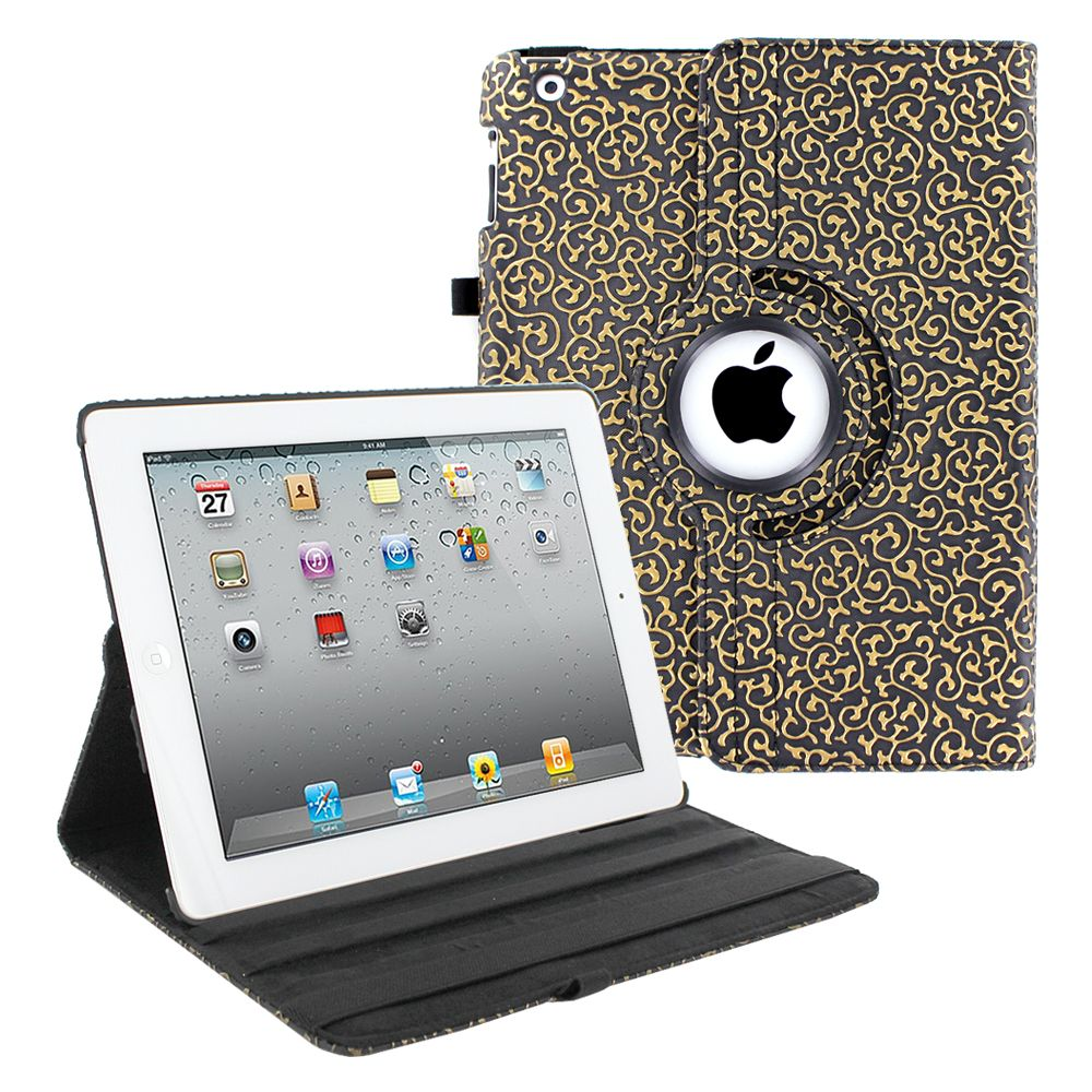 iPad 2, iPad 3, iPad 4 (9.7 inch) Case by KIQ 360 PU Leather Swivel Case Rotating Fitted Slim Cover Multi-View For Apple iPad 2/3/4 9.7-inch, Black