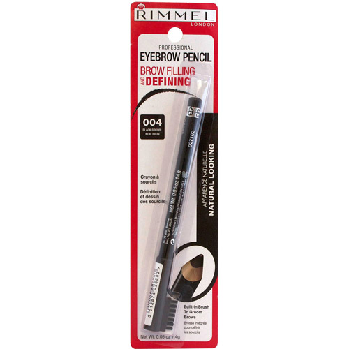 Rimmel Professional Eyebrow Pencil, 004 Black Brown, 0.05 oz