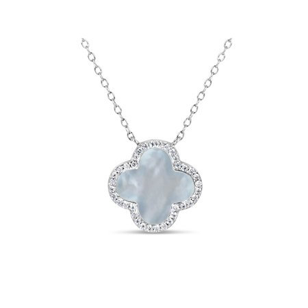 10mm Mother Of Pearl and White Cubic Zirconia Sterling Silver Rhodium Plated Clover Necklace, - 10mm White Fw Pearl Necklace