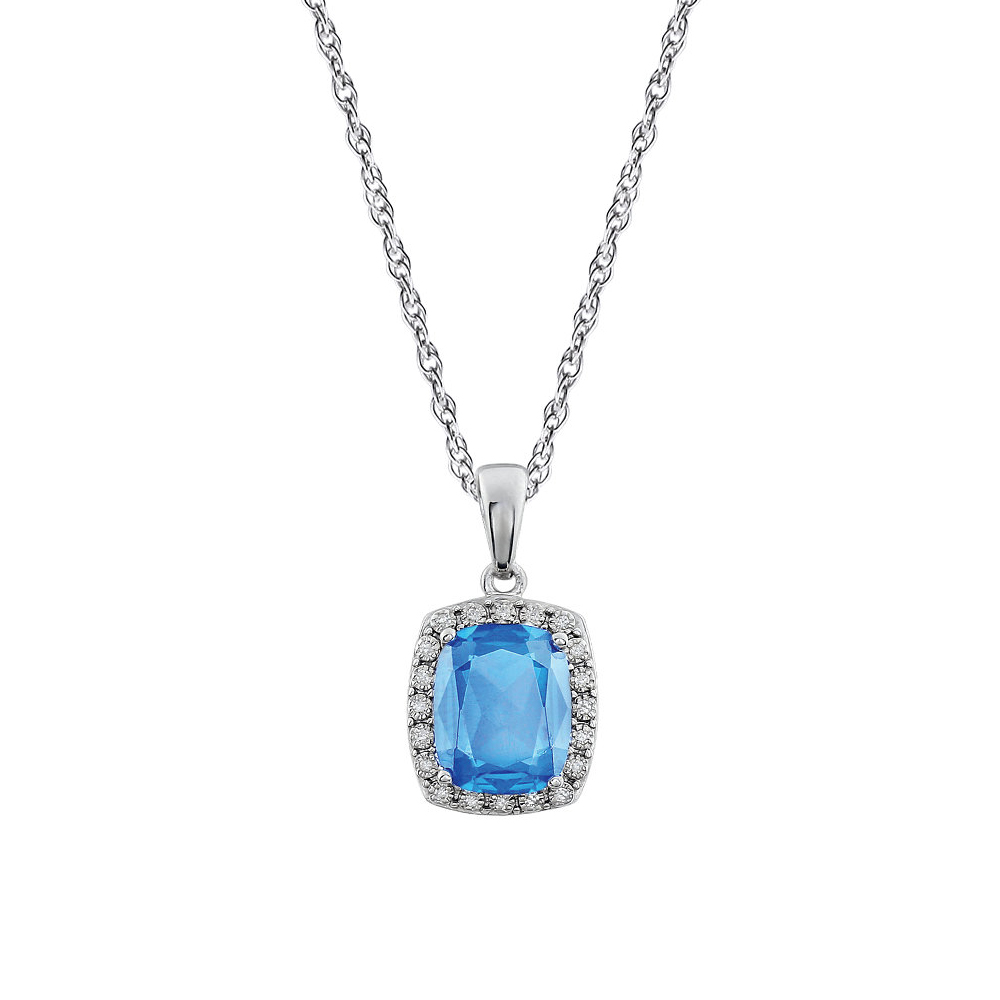 Cushion Swiss Blue Topaz & Diamond Necklace in 14k White Gold, 18 Inch by Black Bow Jewelry Company