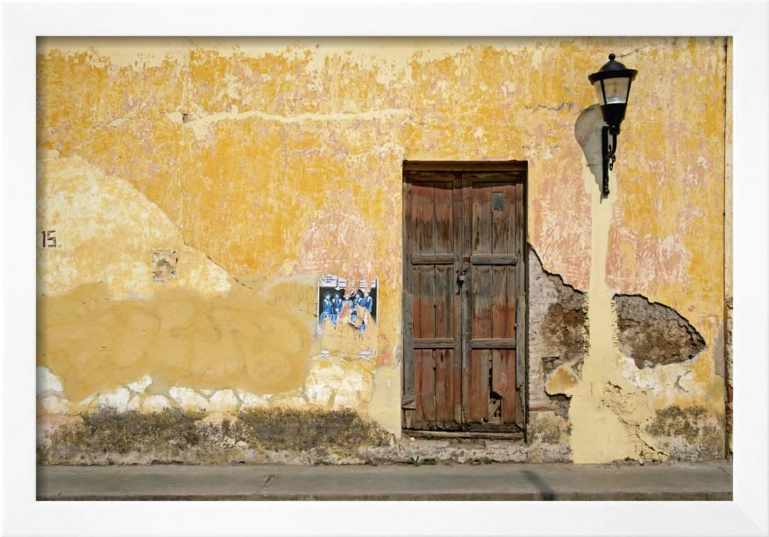 Broken Plaster on Yellow Wall with Old Wood Door Framed Photographic ...