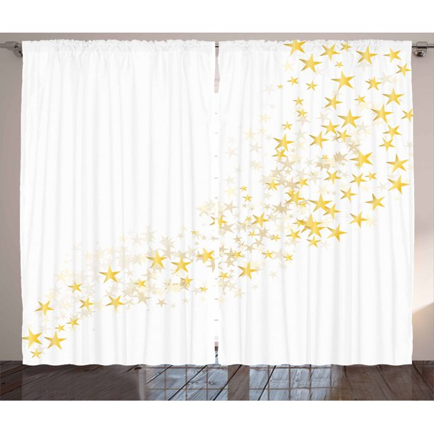 Yellow And White Curtains 2 Panels Set