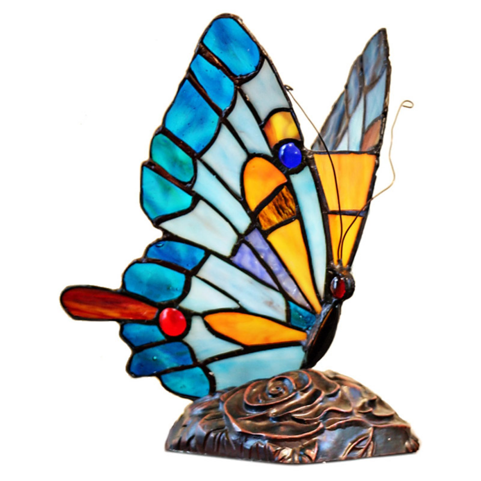 River Of Goods 15221 Tiffany Style Stained Glass Butterfly Table