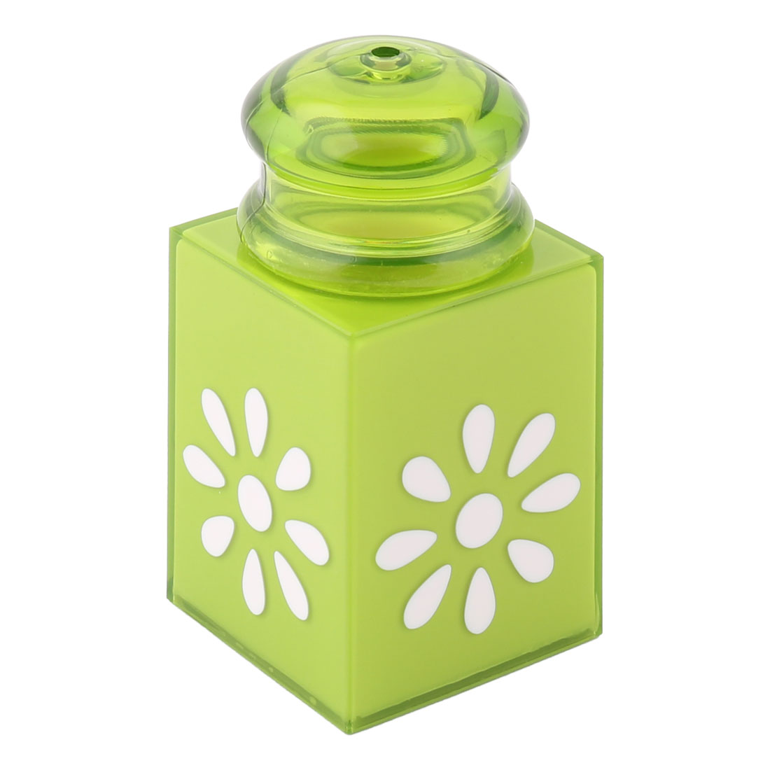 Home Plastic Can Signet Shaped Flower Pattern Toothpick Holder Storage Box Green