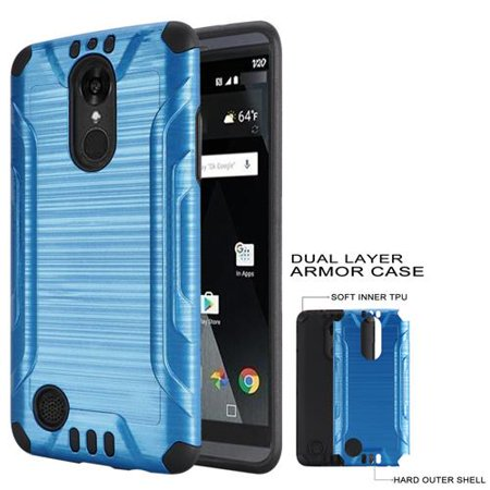 Phone Case for Straight Talk LG Rebel 2 (Tracfone) / LG Fortune (Cricket) / LG Phoenix-3 GoPhone AT&T / LG Aristo Brush Textured Dual-Layered Cover (Combat Brush Blue-Black TPU) (Aristo Craft Usa Straight Track)