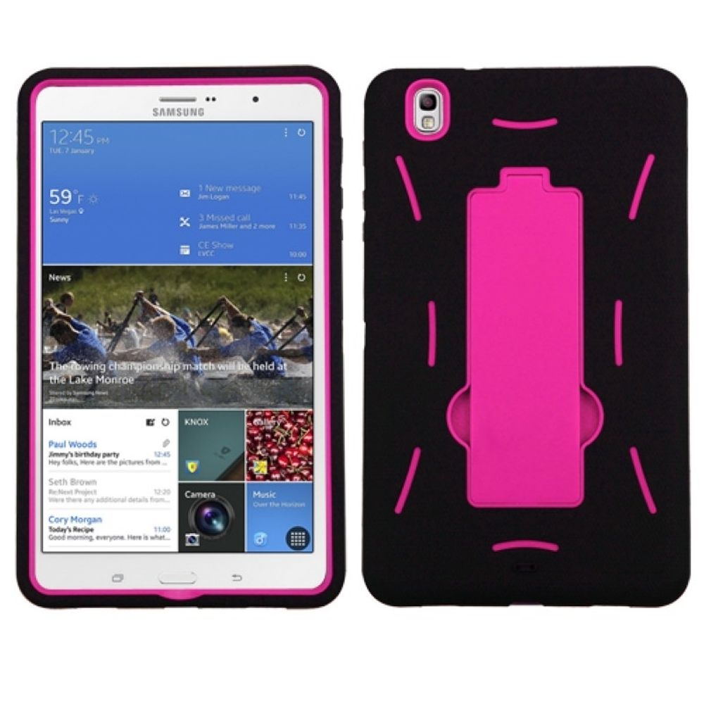 Insten Hot Pink/Black Symbiosis Hybrid Hard Shockproof Stand Case Cover For Samsung Galaxy Tab Pro 8.4