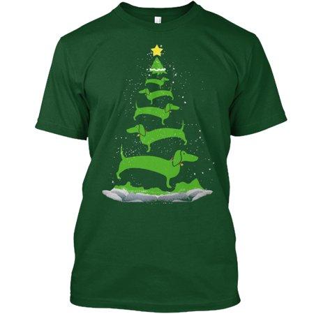 - Ltd Edition Dachshund Christmas Tree Hanes Tagless Tee T-Shirt