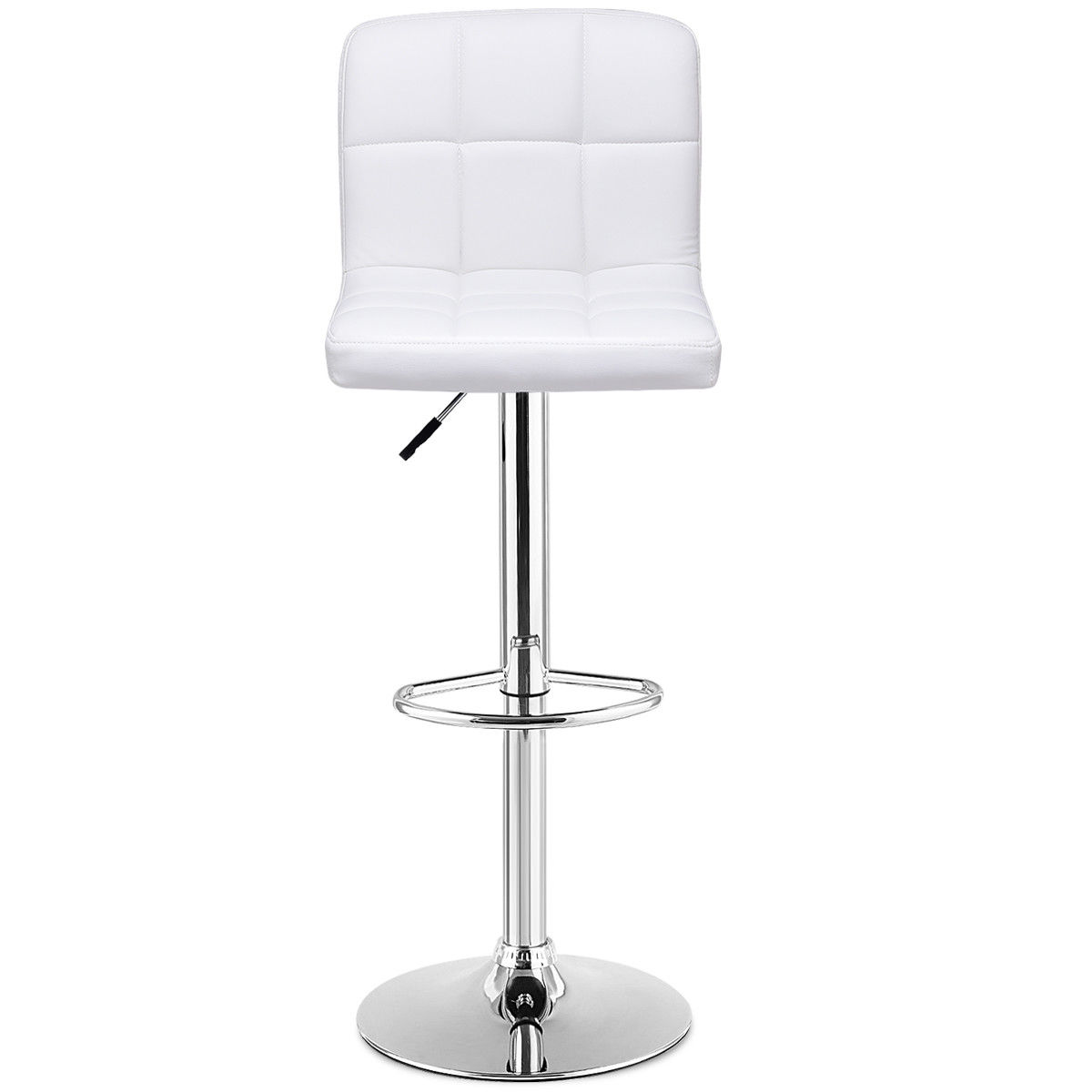 Set Of 2 Bar Stools PU Leather Adjustable Barstool Swivel Pub Chairs White - image 6 de 10