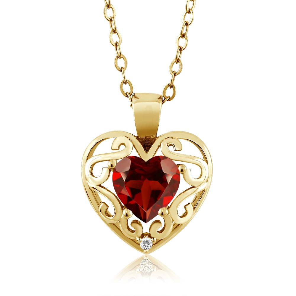0.91 Ct Heart Shape Red Garnet Sapphire Gold Plated Sterling Silver Pendant