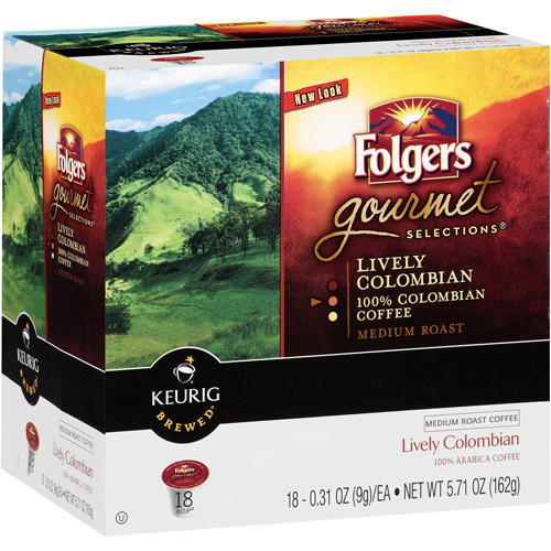 Folgers Gourmet Selections Lively Colombian Medium Roast K-Cups Coffee, 18 count
