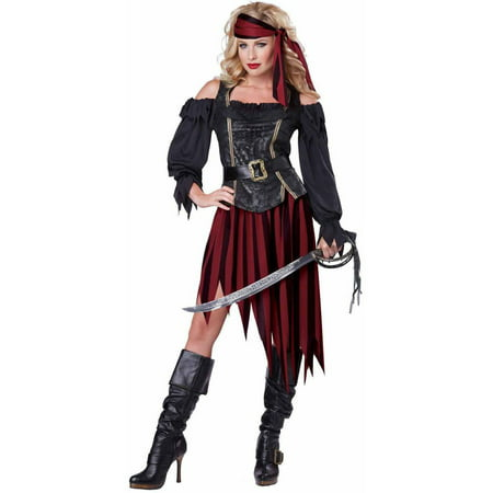 Pirate Queen Of The High Seas Women's Adult Halloween Costume - Skeleton Pirate Halloween Makeup