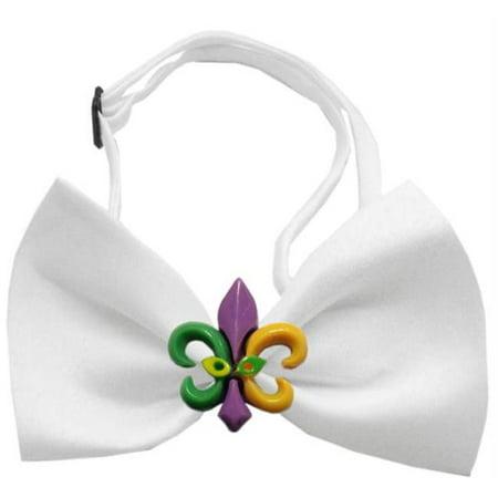 Mardi Gras Fleur de Lis Chipper White Bow Tie (Mardi Gras Bow Ties)