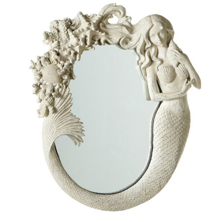 "16"" Off-White Nautical Themed Resin Mermaid Decorative Wall Mirror"