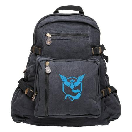 e49a4c6be779 Pokemon Go TEAM MYSTIC Articuno Canvas Backpack Bookbag Army School Sports  Bag