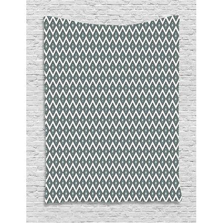 grey blue tapestry geometric arrangement bullseye pattern rhombuses modern illustration wall. Black Bedroom Furniture Sets. Home Design Ideas