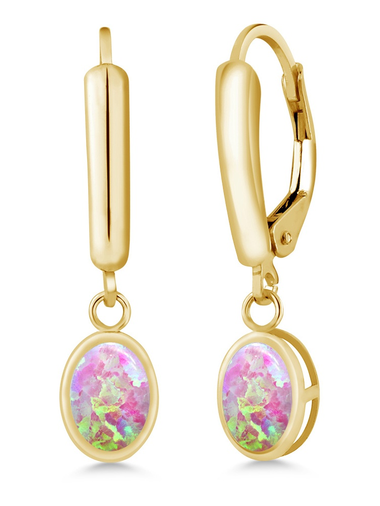 1.26 Ct Oval Cabochon Pink Simulated Opal 14K Yellow Gold Earrings by