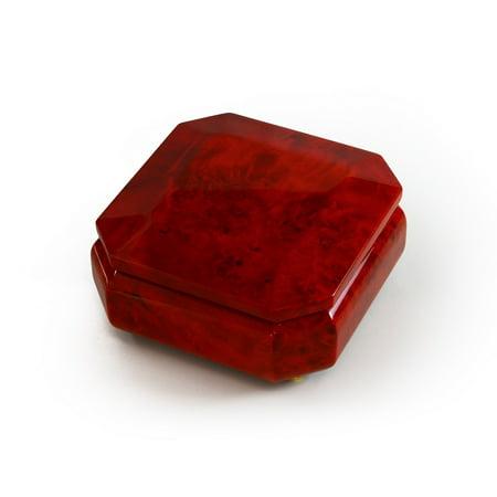 Astonishing Beveled Octagonal Wood Classic Style Music Jewelry Box - Beauty and the Beast