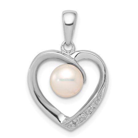 087b152d03c2b 925 Sterling Silver 6mm Freshwater Cultured Pearl Diamond Heart Pendant  Charm Necklace Love For Women