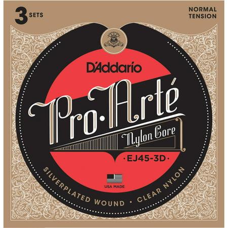 D'Addario EJ45-3D Pro-Arte Nylon Classical Guitar Strings, Normal Tension, 3