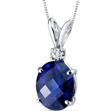 3.50 Carat Oval-Shape Created Blue Sapphire and Diamond Accent 14kt White Gold Pendant, 18
