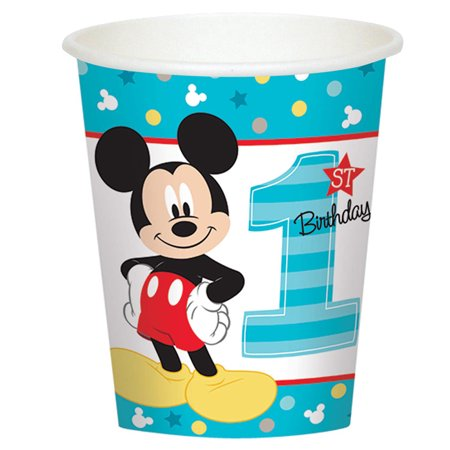 Mickey Mouse First Birthday Party Supplies 8 Pack Paper Cups - Baby Mickey Mouse 1st Birthday
